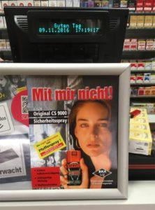 Werbung für Pfefferspray als Beispiel für Schutzverhalten infolge von Kriminalitätsfurcht
