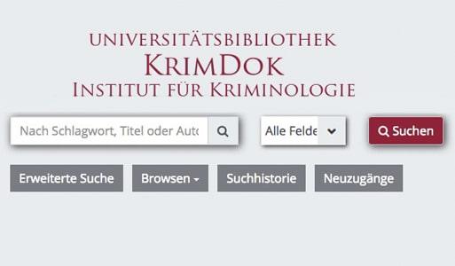 Startseite der Webseite KrimDok