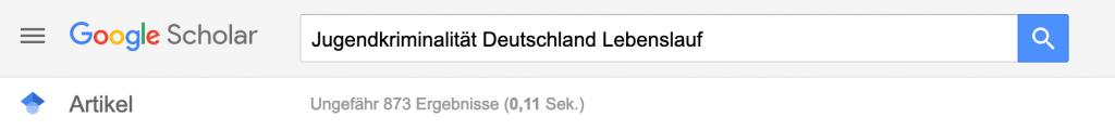 """Screenshot Google Scholar – systematische Literaturrecherche am Beispiel """"Jugendkriminalität Deutschland Lebenslauf"""""""