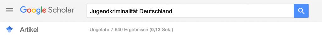 """Screenshot Google Scholar – systematische Literaturrecherche am Beispiel """"Jugendkriminalität in Deutschland"""""""